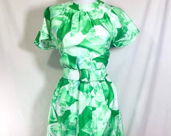 1960s Silky Tropical Butterfly Print Belted Wiggle Dress size S