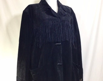 1990s Black Suede Fringe Jacket with Horn Toggles size XXL