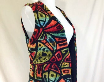 1960s Groovy Boho Tapestry Vest size S/M