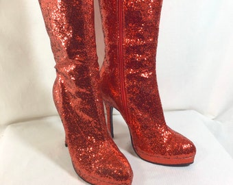 Tall Sparkly Ruby Zip-Up Boots with Stiletto Heel and Pointed Toe size 8