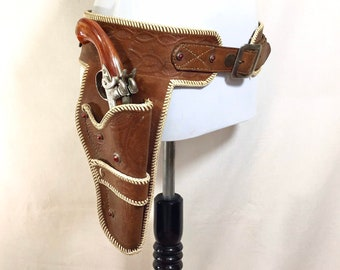 1970s Leather Studded Western Holster Ammunition Belt with Cap Gun, Waist Size 35-38