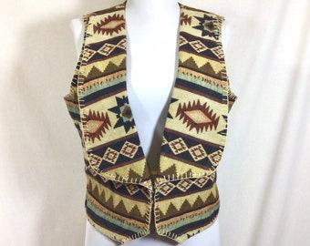 1980s NEW OLD STOCK Southwestern Tapestry Vest size M