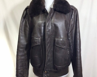 1960s Brown Leather Pilot's Bomber Jacket with Aviation Pin! Size XS/S