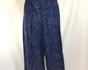 1970s High Waisted Wide Leg Navy Polka Dot Lightweight Pants with Elastic Waist size M