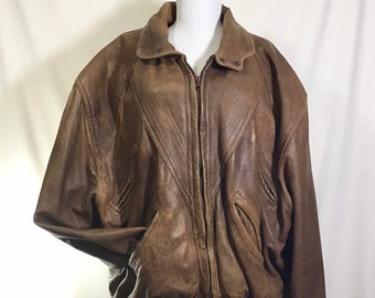 1980s Brown Leather Bomber Zip Jacket with Geometric Print Lining size M/L