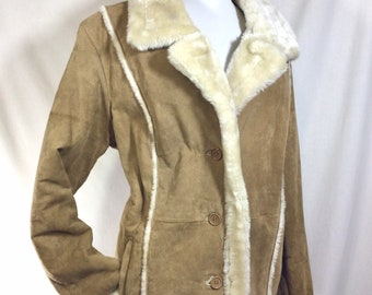1990s Does 1970s Penny Lane Suede Coat with Faux Fur Lining size M