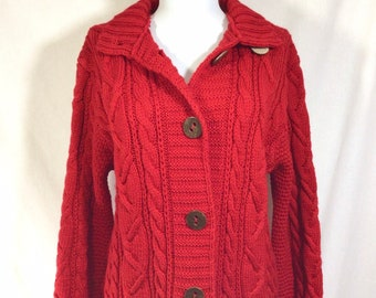 1990s English Wool Cardigan with Faux Wood Look Buttons size M