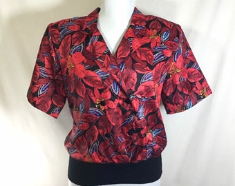 1980s Tropical Print Double Breasted Button Blouse with Knit Waistband size M