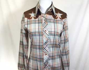 1970s Embroidered Star Western Plaid Shirt with Pearl Snap Buttons size M