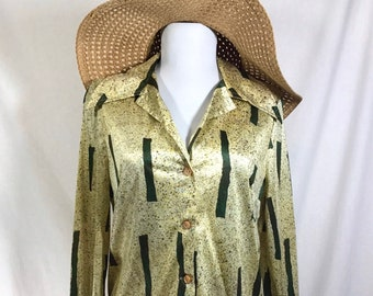 1970s Shiny Speckled Blouse with Moonglow Buttons and Oversized Collar size M