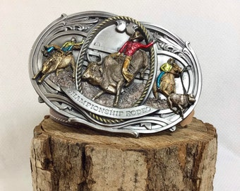 1986 HUGE Championship Rodeo Pewter and Painted Enamel Belt Buckle