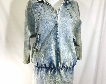1980s Acid Wash Denim Collared Jumper Dress size S