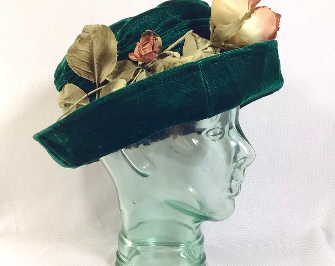 Featured listing image: 1990s Green Velvet Floppy Hat with Rouching and Faux Rosebuds