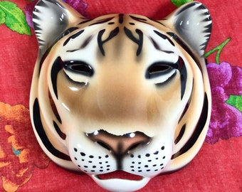 1970s Signed Ceramic Tiger Mask Wall Hanging