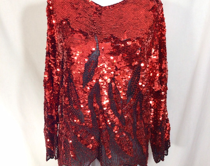 Featured listing image: 1970s Fiery Flame Red Sequin Silk Oleg Cassini Bias-Cut Batwing Blouse size S/M