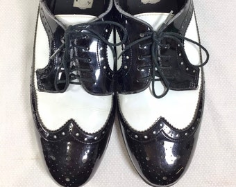 1990s Costume Black/White Wingtip Patent Leather Shoes sizes 10.5 and 13