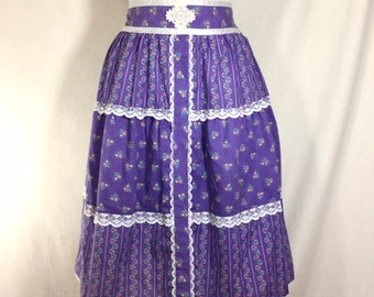 1970s Cotton Gunne Sax Inspired Prairie Skirt with Lace Trim size S
