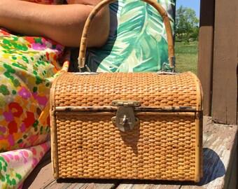 1950s Bamboo Wicker Basket Top Handle Box Purse
