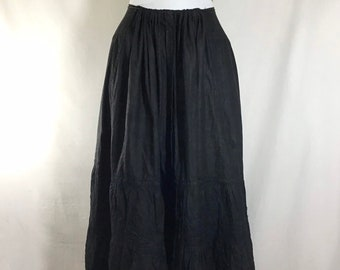 Early 1900s Black Cotton Edwardian Eyelet Drawstring Maxi Skirt size S