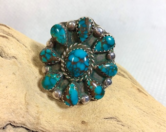 1960s SIGNED Sterling Turquoise Cluster Ring size 7.5