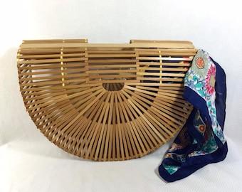 1950s Japanese Bamboo Boho Cage Purse