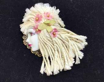 1980s Fashion Lady Ceramic Flapper Brooch with Beaded Silk Flowers