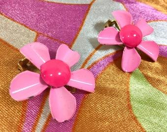 1960s Pink Daisy Metal and Enamel Clip-On Earrings