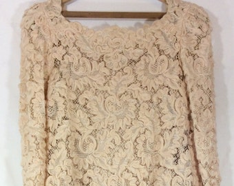 Womens 1960s Champagne Long Sleeve Wool and Lace 2 piece Dress size L