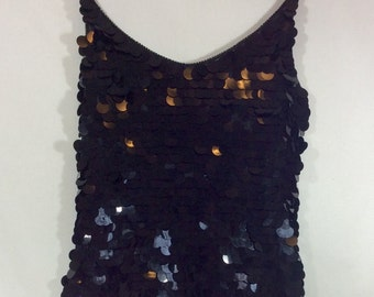 Womens Vintage 1980s Black Flapper Cocktail Dress with Beaded Straps & Pailettes size M