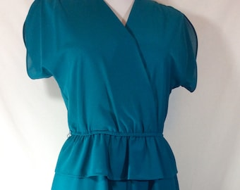 25% OFF! Womens Vintage Teal Faux Wrap Dress with Butterfly Sleeves and Peplum size S