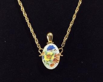 1960s Floral Enamel Guilloche Mini Perfume Bottle Pendant Necklace on Gold Chain