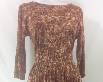 30% OFF! 1950s Auburn Swirl Print A Line Silhouette Dress size 6