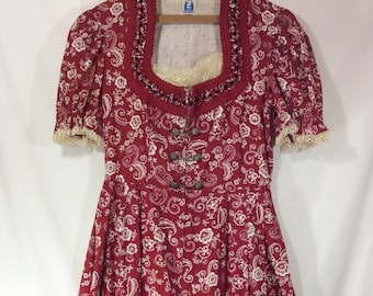 Womens 1960s Red/White A-Line German Made Dirndl Dress with Quilted Neckline and Toggles size M