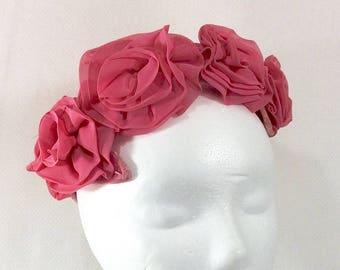 Vintage Pink Flower and Lace Fascinator with Velvet Base