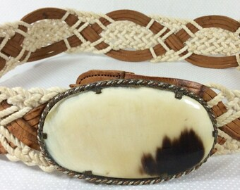 Womens Vintage Brown Leather and Macrame Belt with Calico Stone Buckle size S/M
