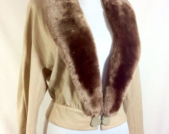 1960s Beige Cardigan with Faux Mink Collar and 3/4 Length Sleeves, size S/M