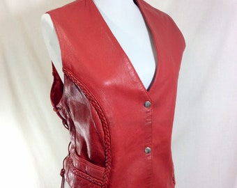 Vintage Red Leather Vest with Braided Trim and Lace-Up Details size M