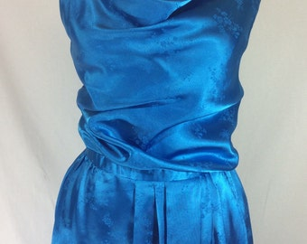 Womens 1970s Blue Sheen Floral Disco Dress with Sexy Cowl Neck size S
