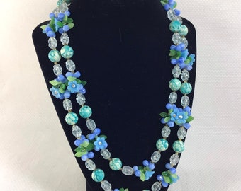 1950s Blue Floral Cluster Beaded 2-Strand Necklace