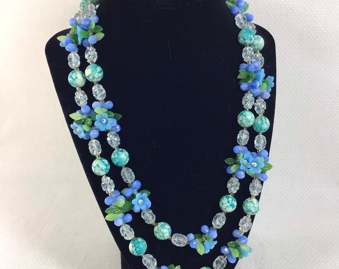 Featured listing image: 1950s Blue Floral Cluster Beaded 2-Strand Necklace
