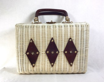 1960s Large Wicker Basket Purse with Studded Leather Details and Turnkey Clasp