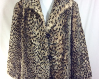 1970s Leopard Print Faux Fur Long Coat with Pockets and Large Collar size XL