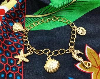 1970s Nautical Gold Tone Charm Bracelet