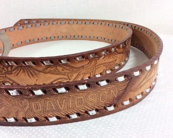 Vintage Harley Davidson Tooled Leather Belt with Horseshoe Buckle and Metallic Stitch size 44-47