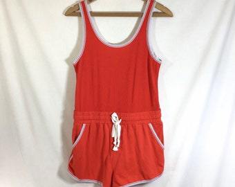 1970s Inspired Sporty Red Sleeveless Roller Rink Romper size S