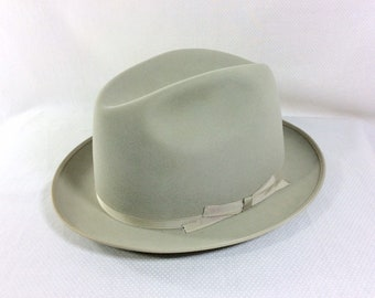 1950s MINT with BOX Stetson Grey Royal Deluxe Fedora with Original Box size 7 1/4