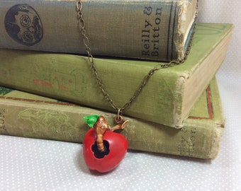 1970s Wiggle Worm Apple Signed Pendant Necklace on Long Brass Chain