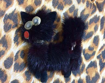 1950s Black Mink Fur Whimsical Cat Brooch with Googly Eyes and Bumhole
