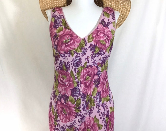 Featured listing image: 90s Does 40s Sparkly Floral Sleeveless Boho Sheath Dress size S