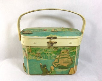 1950s Wood Decoupage Sailing Themed Box Purse with Ball Clasp